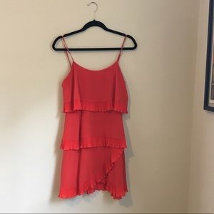 Bcbg tiered coral cocktail dress